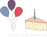Balloons, cake, children, imagine make believe