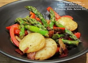 Gluten free, bacon, asparagus, recipe, potato, capsicum, mushroom