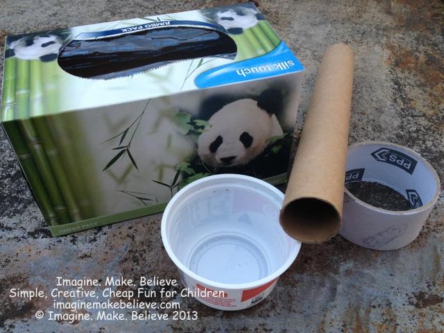 Supplies box, Imagine Make Believe, cardboard box, decorated