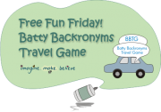 Batty Backronyms Travel Game - kids, car, number plate, word game, children
