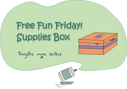 Supplies box, Imagine Make Believe, cardboard box, decorated