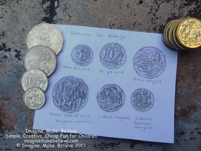 Coin Rubbings, Australian coins, frottage, Australian animals, 5c, 10c, 20c, 50c, $1, $2, pencil rubbing