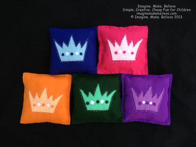 Mini Crown Cushions, kits, stitching, kids, royal, felt