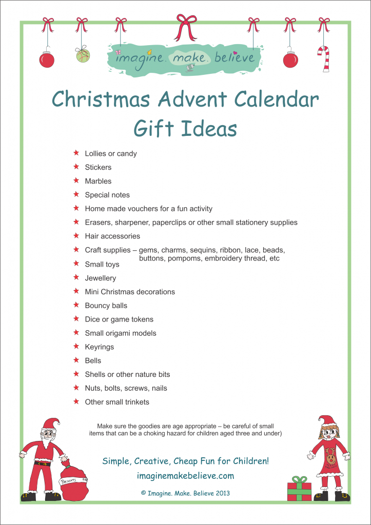 Kids Christmas Calendar Ideas : Christmas advent calendar gift ideas imagine make believe