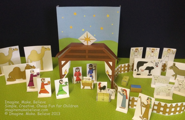 Free Play with Paper - Christmas Nativity Scene Printables, Imagine. Make. Believe, Christmas, Mary, Joseph, baby, Jesus, animals, shepherds, Magi, wisemen, star, stable, hay, manger, free, printable, paper, standups, cutouts, children, play, paper