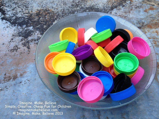 Milk Bottle Lid Craft, juice bottle lids, colourful, upcycle, recycle, play