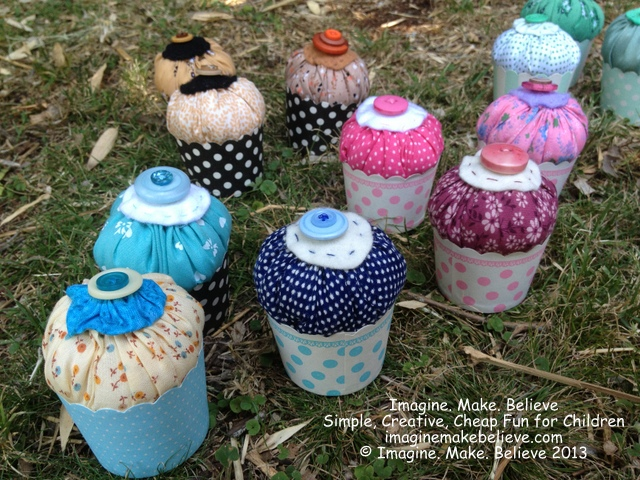 Puffy Cupcake Pincushions - kid's sewing, children, felt, buttons, cupcake, pincushion