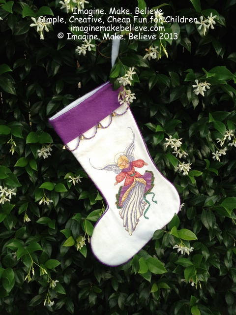 Christmas Stocking, felt, angel, cross-stitch, beads