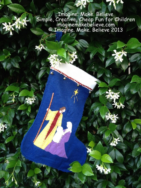 Christmas Stocking, felt, Jesus, Mary, Joseph, star