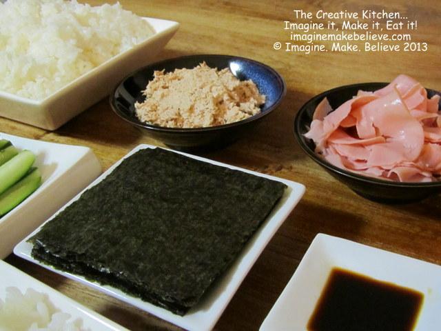 Gluten Free, dairy free, temaki sushi, Japanese, recipe, nori, ham, tuna and mayonnaise, soy sauce, rice
