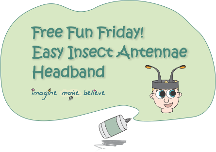 Free Fun Friday - Easy Insect Antennae Headband, insect, antennae, bug, beetle, bee, grasshopper, ladybug, party, dress up, costume, craft, kids, make, paper craft, cheap, free, pattern, tutorial